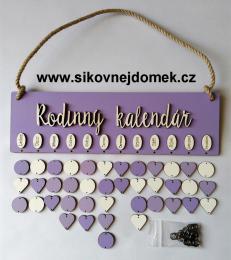 Sestava s nápisem Rodinný kalendář fialovo-levandulová - zvětšit obrázek