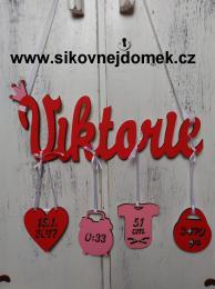 Jméno Viktorie+narození-červeno-růžová - zvětšit obrázek