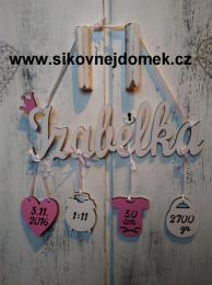 Jméno Izabelka+narození-bílo-růžová - zvětšit obrázek