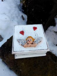 Krabička šperkovnice andílek 10x10x5cm - zvětšit obrázek