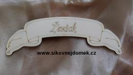 Svatební jmenovka na stůl Ženich 9x25cm - zvětšit obrázek