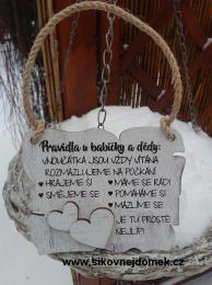 Cedulka Pravidla u babičky a dědy 14x11cm-hnědo bílá patina - zvětšit obrázek