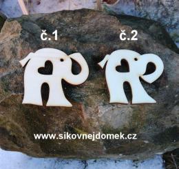 2D výřez slon bez dírky+srdíčko,chob.nahoru -v.5x6cm -č.1 - zvětšit obrázek