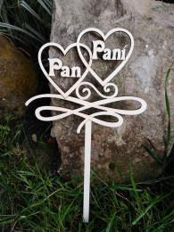 2D výřez zápich 2srdce Pan+Paní. velikost výřez 18x15,5cm - zvětšit obrázek