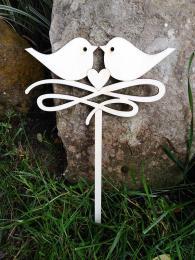 2D výřez zápich srdce 2 ptáčci+orn., velikost výřez 11,5x19cm - zvětšit obrázek