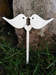 2D výřez zápich srdce 2 ptáčci, velikost výřez 6,5x19cm - zvětšit obrázek