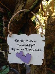 Cedulka ideální žena - 14x11cm-hnědo- bílá patina fial.srdce - zvětšit obrázek