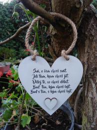Cedulka srdce Sni....-14x14cm,hnědo-bílá patina - zvětšit obrázek