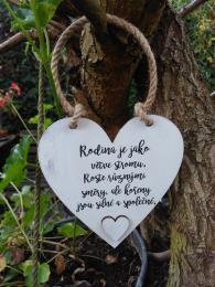 Cedulka srdce Rodina je jako větve....-14x11cm,hnědo-bílá patina - zvětšit obrázek