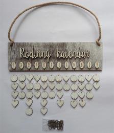 Sestava s nápisem Rodinný kalendář hnědo-bílá - zvětšit obrázek