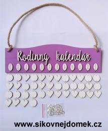Sestava Rodinný kalendář,deska do obloučku, tmavá fialovo-levandulová  - zvětšit obrázek