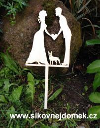 Zápich svatební nevěsta,ženich,buldoček-síla mat.0,4cm - zvětšit obrázek