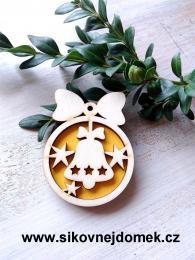 Vánoční ozdoba koule v.6,7x5cm, zvonek - žlutá - zvětšit obrázek