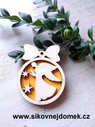 Vánoční ozdoba koule v.6,7x5cm, anděl čistý č.2 - žlutá - zvětšit obrázek