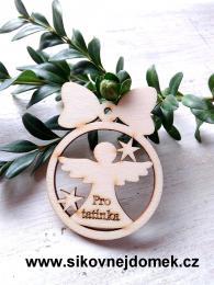 Vánoční ozdoba koule v.6,7x5cm, anděl pro tatínka - zvětšit obrázek