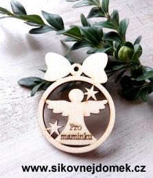 Vánoční ozdoba koule v.6,7x5cm, anděl pro maminku - zvětšit obrázek