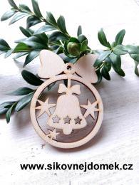 Vánoční ozdoba koule v.6,7x5cm, zvonek - zvětšit obrázek