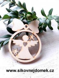 Vánoční ozdoba koule v.6,7x5cm, anděl č.1 srdce - zvětšit obrázek