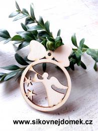 Vánoční ozdoba koule v.6,7x5cm, anděl s trubkou - zvětšit obrázek
