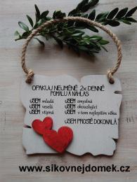 Cedulka Opakuj - 14x11cm - hnědo-bílá patina-červené srdce - zvětšit obrázek
