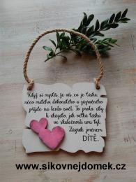 Cedulka Když si myslíš.. - 14x11cm - hnědo-bílá patina-růžové srdce - zvětšit obrázek