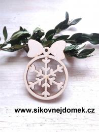Vánoční ozdoba koule v.6,7x5cm, vločka - zvětšit obrázek