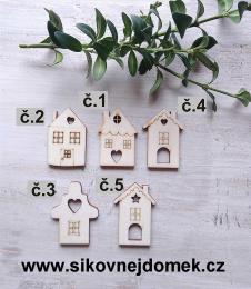 Vánoční ozdoba domeček č.1 -4x3cm - zvětšit obrázek