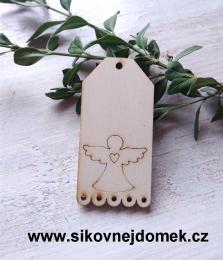 Jmenovka na dárky anděl 6,7x3,6cm - síla 3mm - zvětšit obrázek