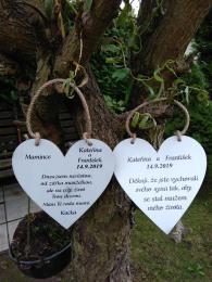 Svatební srdce dekor 20x20cm poděkování - zvětšit obrázek