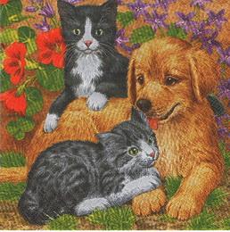 ZV 027- ubrousek 33x33 -kočičky+pejsek - zvětšit obrázek