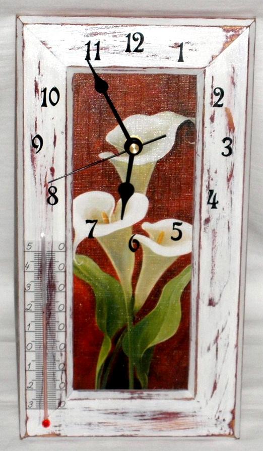 Bílá kala - hodiny, teplomìr, obrázek 3v1