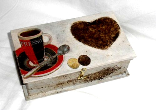 Døevìná krabièka motiv kávièka - 14x8x4cm