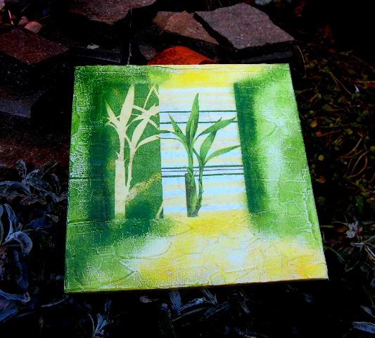 Obrázek bambus PLÁTNO 20x20cm è.1