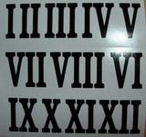 Čísla na hodiny nalepovací černá - římská  v.1,8cm