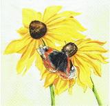 SL 005 - ubrousek 33x33 - slunečnice + motýl