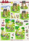 3D papír č.19 - zvířátka na pikniku