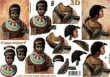 3D papír č.07 - africká žena modré dopl.-SLEVA