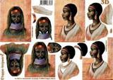 3D papír č.06 - africká žena bílé dopl.-SLEVA