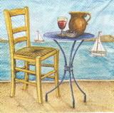 MO 024 - ubrousek 33x33 - židlička+stoleček u moře