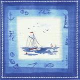 MO 044 - ubrousek 25x25 - loďka v modrém rám