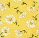 KV 085 - ubrousek 25x25 - bílé květinky na žlutém
