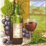 KM 054 - ubrousek 33x33 - víno lahev+sklenička