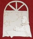 3D výřez okno s andělem v.15,5x11,5cm