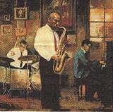 ZA 073 PPD - ubrousek 33x33 - jazz club-saxofon