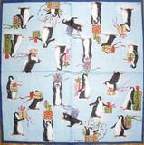 VM 018 Ihr - ubrousek na decoupage 333x33 - tučňáci na modrém