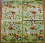 VEL 018 - ubrousek 33x33 - zajícči malují vejce