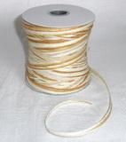 Papírová raffia 10 mm - hnědá světlá - bílá