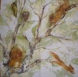 ZV 096 - ubrousek 33x33 - veverky na stromě