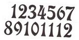 Čísla na hodiny nalepovací-ozdobná v.1,9cm TM.HNĚDÁ