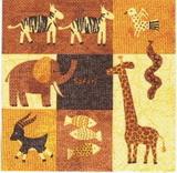 ET 016 - ubrousek 33x33 - mix etno zvířátek-balení 20ks